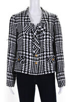 Edward Achour Womens Tweed Ribbon Chain Weighted Jacket Black White Size FR 46