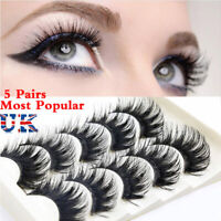 5 Pairs 3D Mink False Eyelashes Wispy Cross Long Thick Soft Fake Eye Lashes UK