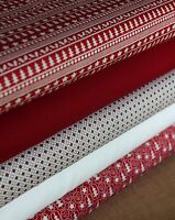 5 Piece Fat Quarter Christmas Red Scandi Colours Fabric Bundle 100% Cotton Craft