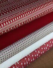 5 Piece Fat Quarter Christmas Red Scandi Colours Fabric Bundle 100% Cotton Craft