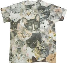 Cat Faces Print Sublimated Adult T-Shirt  - Grumpy Cat Lovers Pet Pusheen Gift