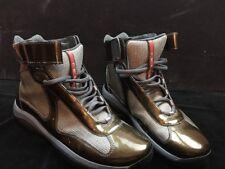 Prada Hi-Top 4T 0341 Size 7 Leather Brownish Gold /grey