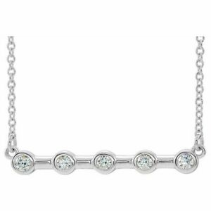 "Diamond Bezel-Set Bar 18"" Necklace In Platinum (1/6 CTW)"