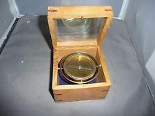 GIMBLED COMPASS   MASTER GIMBLED COMPASS  wooden box with glass top NAUTICAL