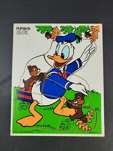 Vintage Playskool Disney Donald Duck Chip Dale Wooden Puzzle 9 Pieces Wood Tray