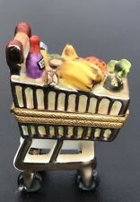 Limited Edition Limoges Peint Main Trinket Box Grocery Cart. Jacques 131/1000