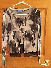 Simply Vera Wang Black &Gray Long Sleeve Cardigan Womens Size SZ PM Sweater bx19