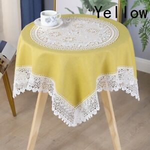 Square Rectangle Tablecloth Home Table Cover Hollow Out Floral Lace Trim Country