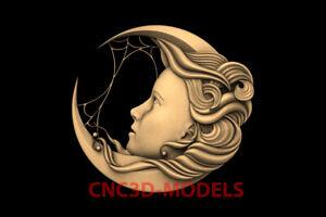 3D Model for CNC STL File Artcam Aspire Vcarve moon face beautiful girl PK121