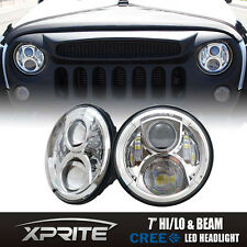 """7"""" Round 90W CREE LED G5 Chrome Projector Headlights For 97-18 Jeep Wrangler"""