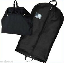 "Black 40"" Suit Carrier Garment Cover Travel Bag Strong Woven Nylon Lightweight"