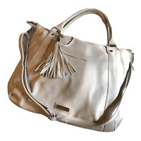 Steve Madden Womens Large Purse Tan Faux Leather Shopper Handbag Tote Silver