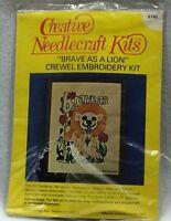 "Vintage Creative Needlecraft Brave As A Lion 6745 Crewel Embroidery Kit 8""x10"""