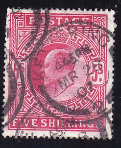 Great Britain Scott 140 SG263 old 5sh KEVII U/F-VF CV $225