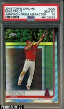 2019 Topps Chrome Prism Refractor #200 Mike Trout Jumping Angels PSA 10