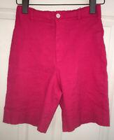 Vintage Ralph Lauren Pink Linen Stretch Flat Front Shorts Sz 6 EUC USA 🇺🇸 Made