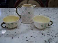 BELLEEK Basket Weave SHAMROCK  CREAMER & 2)CUPS