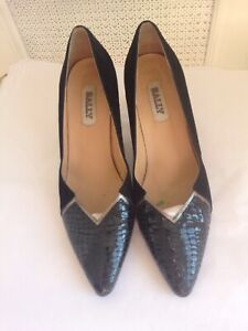 Vintage Bally 1980s 80s Court Shoes - Black Suede Leather -Excellent Con UK 7