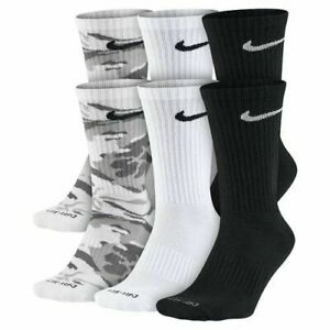 NEW Nike Camo Dri-Fit Cushion Crew Socks 6 pairs Size 6-12 Pick