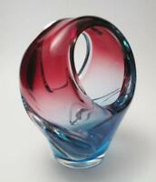 EXQUISITE CENEDESE VINTAGE ITALIAN MURANO ART GLASS MODERNIST BASKET WITH LABEL