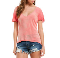 FREE PEOPLE Coral Saturday V-Neck Lace Trim S Small T-shirt Linen Blend