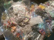 Job Lot of 10 Heart Shaped Charm Beads for Bracelets crafting Mixed Colours