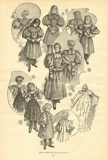 Children, Fashion, Girls' Frocks And Coats, Vintage, 1893 Antique Art Print.