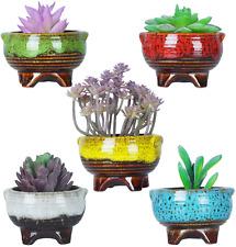 4 Inch Ceramic Succulent Plant Pots Mini Cactus Planter Tripod Glazed Flowerpot