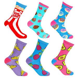 Ladies Food Design Novelty Socks Cotton Rich Avocado Banana Candy Doughnut 4-8