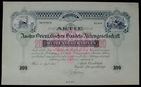 Aktie Austro Orientalischen Handels-AG. 200 Kronen Wien 1908 unentw. + Kupons