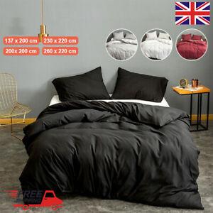 Plain Duvet Cover & Pillowcase Bedding Set Fitted Sheet Single Double All Size
