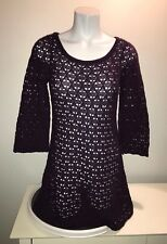 Anthropologie Knitted & Knotted Crochet Wool Purple Bell Sleeve Dress Blouse MD
