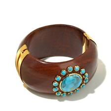 Jewels Of Istanbul Kingman Turquoise Wide Wooden Bangle Bracelet HSN $399.90