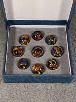 Beautiful CRYSTAL SUPERMAN DAS Marbles Display Box Set Collectible Group of 9