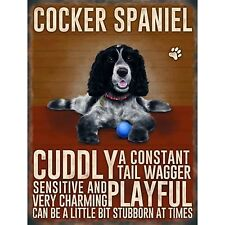 Vintage Style Metal Dog Sign Retro Hanging Plaque Breed Characteristics - 20cm Cocker Spaniel
