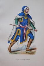 GRAVURE- COSTUME MILITAIRE BAS RHIN-COSTUMES MOYEN AGE 1847-ANTIQUE  PRINT