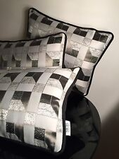 New Sicis Mosaic Art Luxury Cushion Black Velvet Geometric Print Deco Pillow