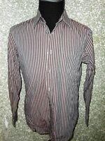 180 004 HUGO BOSS Hemd Gr. M  Langarm  grau schwarz gestreift Herrenhemd