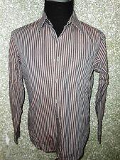 180 004 Hugo Boss Camisa TALLA M Manga Larga Gris Negro a Rayas Camiseta Hombre
