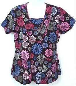 NrG by Barco Scrub Top Women's M Muticolor Mandala Pattern/Pink Trim Style 41214