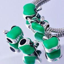 5X Silver Plated European Green Enamel Apple BEADS Fit Charms Bracelets