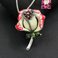 Betsey Johnson Enamel Crystal Rose Flower Pendant Chain Necklace/Brooch Pin