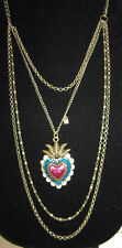 BETSEY JOHNSON VIVA LA BETSEY RARE TIN HEART LOCKET NECKLACE