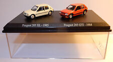 COFFRET ATLAS UH HO 1/87 DUO 2 METAL PEUGEOT 205 XL 1985 BLANC 205 GTI 1984 RED