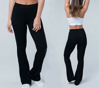 S-XL Women's Black Long Stretch Pants Pull On Mid Rise Bootcut Flare Lounge Yoga