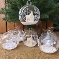 Pair Open Clear Glass & White Glitter Feature Bauble Christmas Tree Decorations