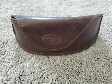 FOSSIL Brown Leather Sunglass Eyeglass Case Magnetic Close Hard Front Soft Back