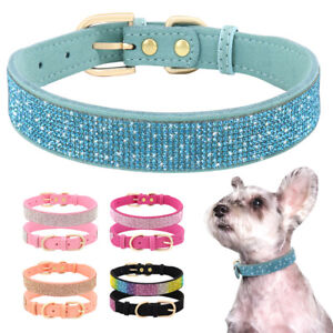 Bling Rhinestone Pet Dog Collars Soft Suede Leather Puppy Cat Crystal Necklace