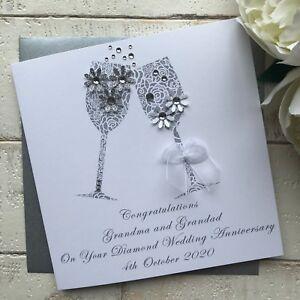 Handmade Personalised 60th Diamond Wedding Anniversary Card Mum Dad Grandad Nan