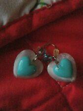 Tarina Tarantino Barbie Vintage Metallic Blue Lucite Heart Earrings